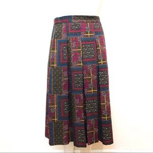 Geiger Wool Plaid and Paisley Skirt